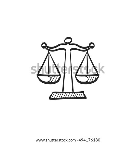 Justice scale icon in doodle sketch lines. Law litigation measurement balance