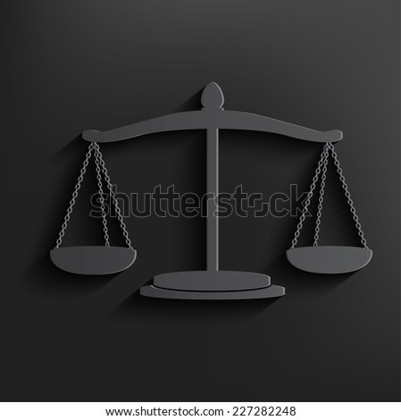 Justice scale symbol on black background,clean vector - stock vector