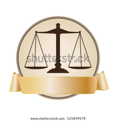 justice scale symbol with ribbon - stock vector