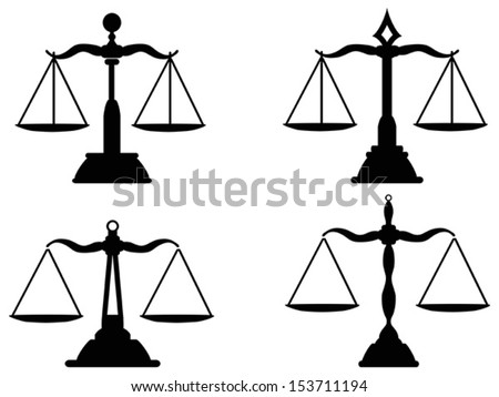Justice scales silhouette  - stock vector
