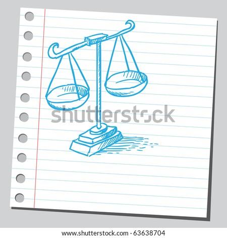 Justice scales sketch - stock vector