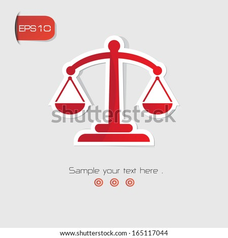 Justice scales symbol,Red version,vector - stock vector