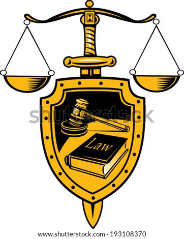 justice - shield, sword and scales - stock vector
