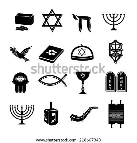 Juwish Church Traditional Religious Symbols Black Stock Vector