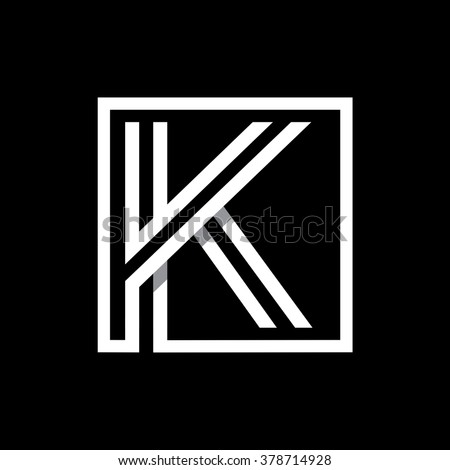 K capital letter enclosed in a square. . Overlapping with shadows monogram, logo, emblem. Trendy design.  - stock vector