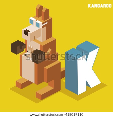 K for Kangaroo. Animal Alphabet collection. vector illustration - stock vector