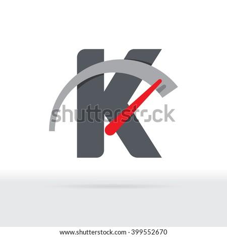 K Letter Car Speedometer, B Letter Meter Logo - stock vector