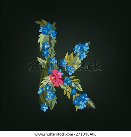 K letter. Flower  alphabet. Colorful font. Lowercase.  Vector illustration. - stock vector