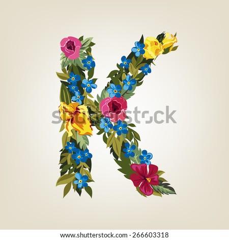 K letter. Flower capital alphabet. Colorful font. Uppercase.  Vector illustration. - stock vector