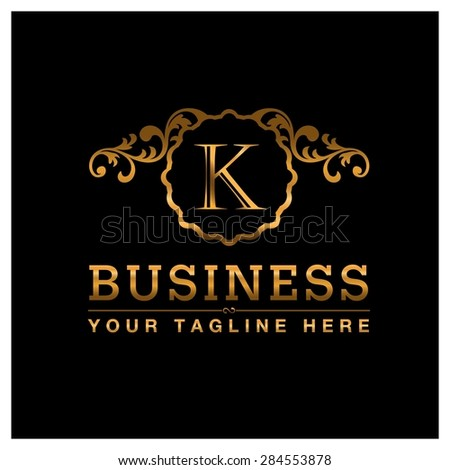 K letter Gold Luxury Logo template flourishes calligraphic elegant ornament lines. Business sign identity for Restaurant, Royalty, Cafe, Hotel, Heraldic, Jewelry, Fashion and other vector illustration