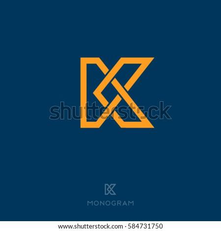 K Letter. K Monogram. Flat Linear Letter On A Dark Background.