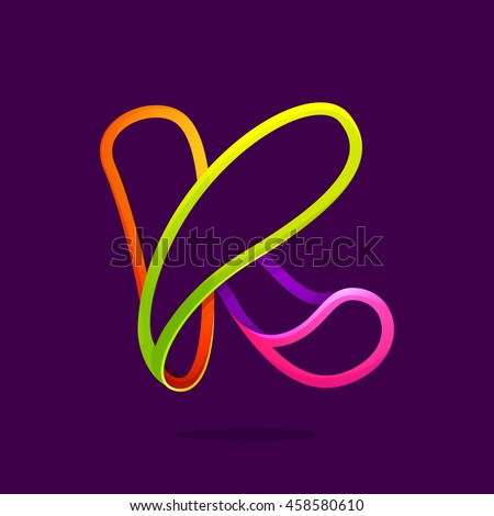K letter logo formed by glowing neon line. Font style, vector design template elements for your application or corporate identity.
