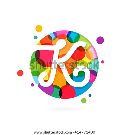 K letter logo in circle with rainbow dots. Font style, vector design template elements for your application or corporate identity. - stock vector