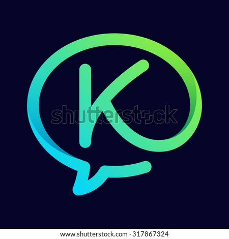 K letter with speech bubble line logo. Abstract trendy letter multicolored vector design template elements for your application or corporate identity. - stock vector