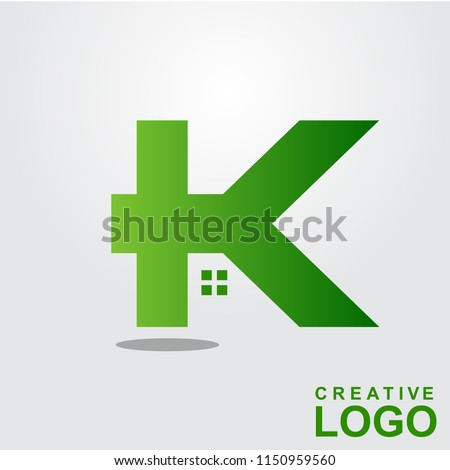K Logo Creative Home Property Concept with color green