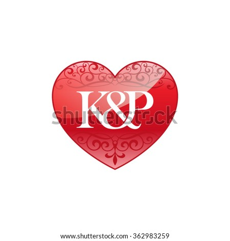 KP Initial Letter Couple Logo With Ornament Heart Shape