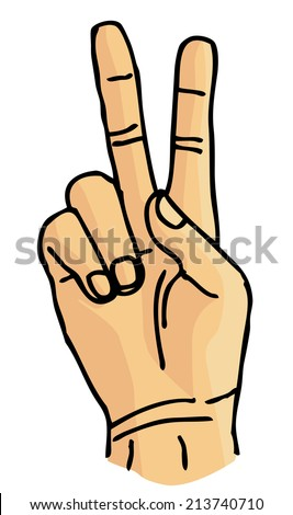 K sign language or victory sign vector