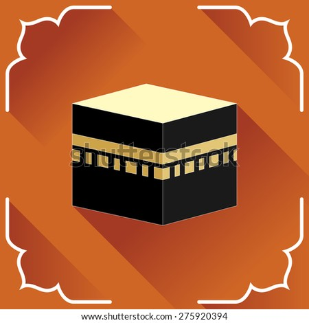 Kaaba -- islamic symbol. Greeting card in flat style. - stock vector