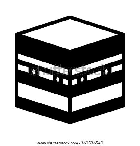 Kaaba Muazzama / Ka'aba cube flat icon for apps and websites - stock vector