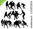 Kabaddi player silhouettes vector - stock photo