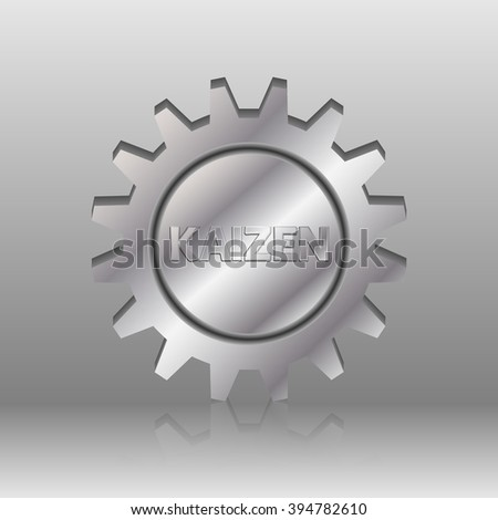 Kaizen text in a silver metal gear wheel. Kaizen is Japanese method of business, that improves process management and production. - stock vector