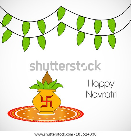 Kalash and rangoli with hanging leaves for the occasion of Navratri - stock vector