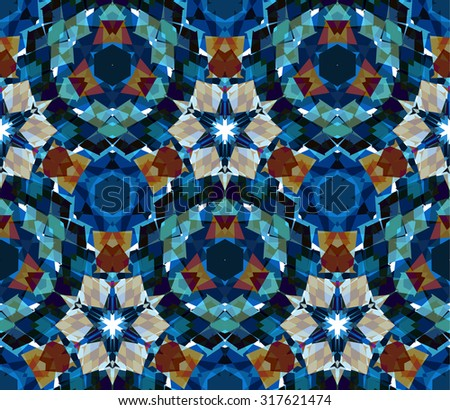 Kaleidoscope background. Seamless pattern composed of color abstract elements located on white background. Useful as design element for texture, pattern and artistic compositions. Vector illustration. - stock vector