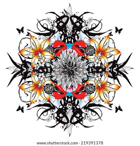 Kaleidoscopic baroque graphics with golden lily - stock vector