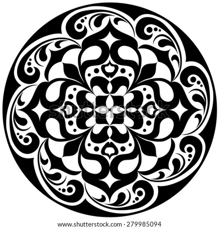 Kaleidoscopic floral tattoo. Mandala in black and white - stock vector