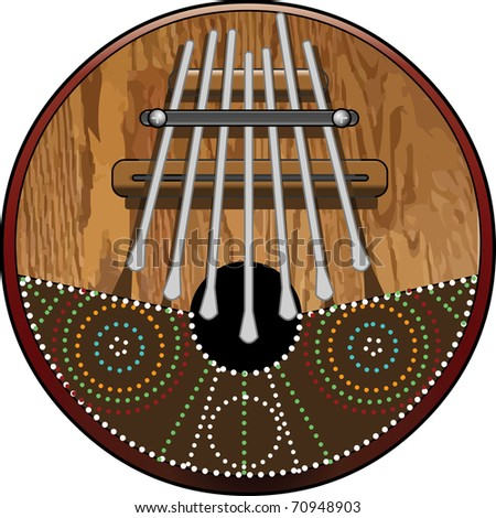 Kalimba 7 note, African Instrument (native and tribal) made of wood and Coconut with seven pieces of Steel Vector illustration - stock vector