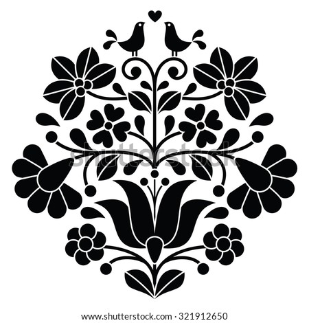 Kalocsai black embroidery - Hungarian floral folk pattern with birds - stock vector