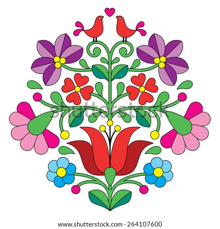 Kalocsai embroidery - Hungarian floral folk pattern with birds   - stock vector