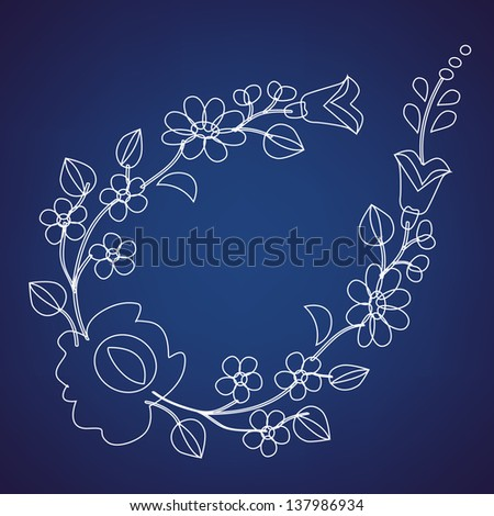 Kalocsai pattern outline on blue - stock vector