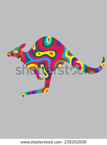 Kangaroo abstract color, art vector illustration