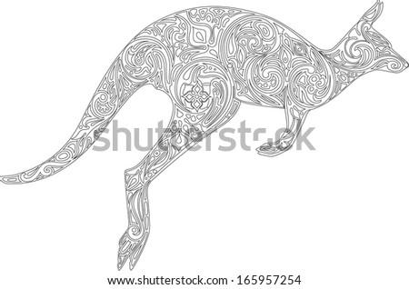 Kangaroo, contour - stock vector