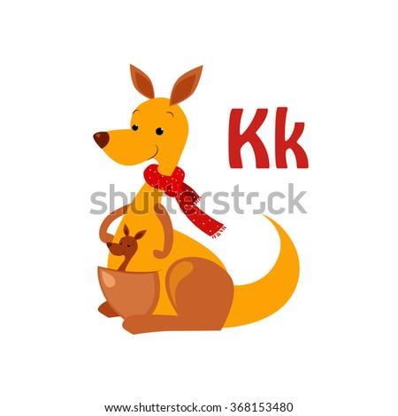 Kangaroo. Funny Alphabet, Colourful Animal Vector Illustration - stock vector