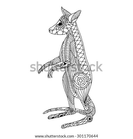 Stylized Australian Kangaroo Family Mother Her Stock