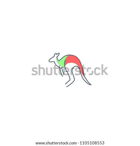 kangaroo line art monoline vector logo stock vector 1105108553