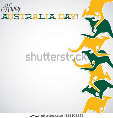 Kangaroo line Australia Day card in vector format. - stock vector