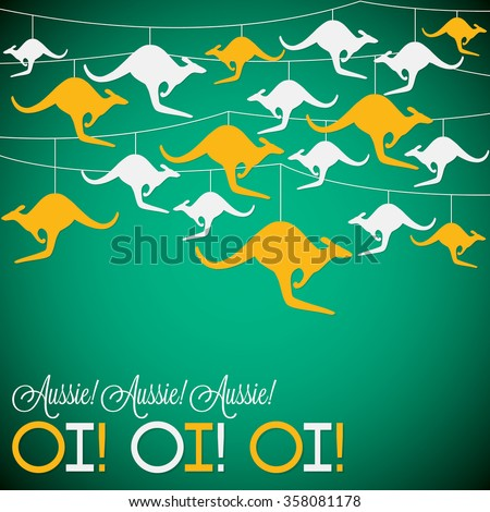 Kangaroo ornament Australia day Card in vector format. - stock vector