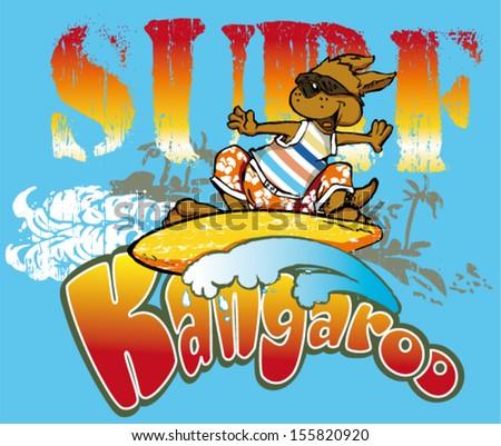 kangaroo surfer - stock vector