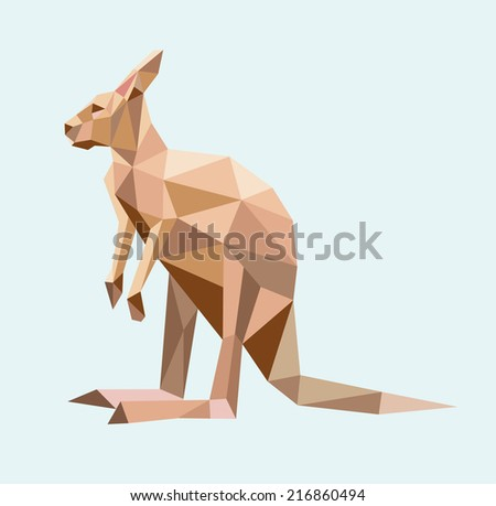 Kangaroo triangle low polygon vector. Good use for icon, sticker, mascot, or any design you want. - stock vector