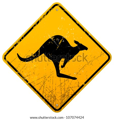 Kangaroo Vintage Sign - Damaged classic yellow Kangaroo roadsign with dust and scratches - stock vector