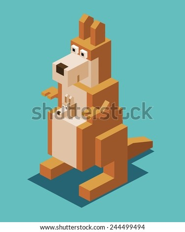 kangaroo with the kid. 3d pixelate isometric vector - stock vector