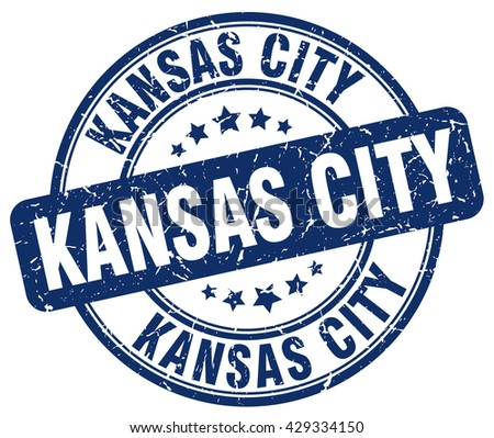Kansas City blue grunge round vintage rubber stamp.Kansas City stamp.Kansas City round stamp.Kansas City grunge stamp.Kansas City.Kansas City vintage stamp. - stock vector