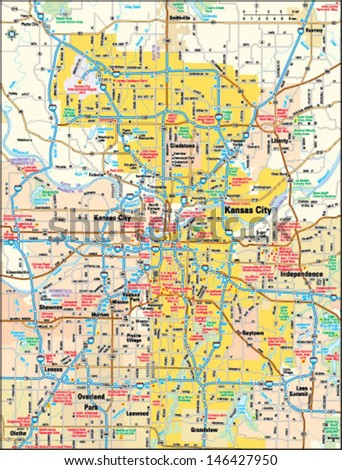 Kansas City Map Stock Images RoyaltyFree Images Vectors - Kansas city map