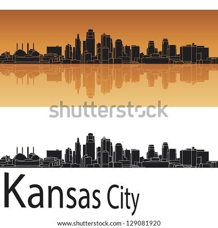 Kansas City skyline in orange background in editable vector file - stock vector