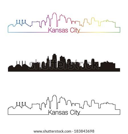 Kansas City skyline linear style with rainbow in editable vector file - stock vector