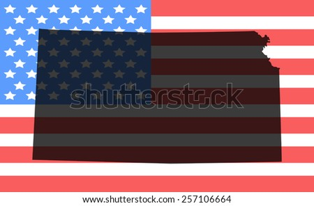Kansas  map on a vintage american flag background - stock vector