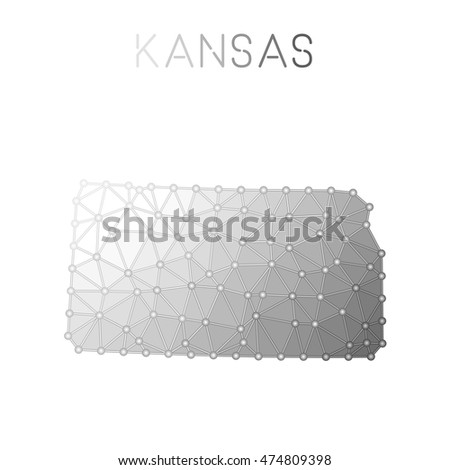Kansas Polygonal Vector Map Molecular Structure Us State Map Design Network Connections Polygonal Kansas